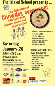 Chowder soothes the soul … stop by and help TIS, too!