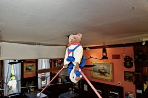 Ernest the balancing bear is back at The Loose Caboose … and oh, what a tale he has to tell
